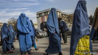 Afghan women walk through the street in Kabul