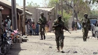 Nigerian troops patrol town of Baga, Borno State. 30 April 2013