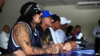 El Salvador gang leaders, media conference