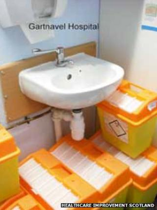 Sharps bins at Gartnavel Hospital