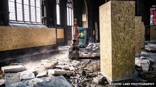 A digger at work in the Manchester Cathedral