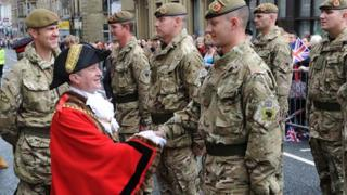 Mayor of Burnley councillor Frank Cant inspecting the troops outside the town hall