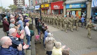 The Duke of Lancaster's Regiment march through Burnley