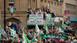 Yeovil Town open-top bus parade, Yeovil, May 21 2013