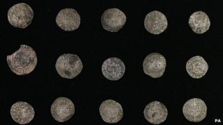 Thirty medieval silver coins were also put on show by the museum
