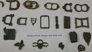 Medieval belt fittings and strap ends were among some of the items recovered