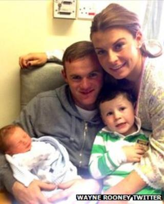 Wayne and Coleen Rooney with new born baby Klay and son Kai