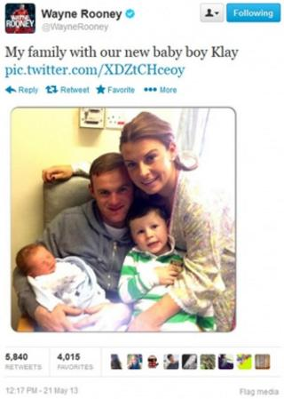 Wayne Rooney's tweeted photo
