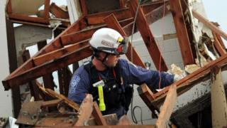 Rescue working among the wreckage in Oklahoma