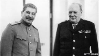 Joseph Stalin and Winston Churchill