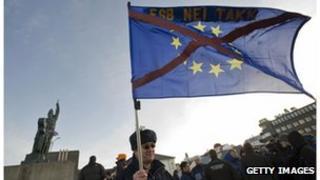 A demonstrator against EU membership in Reykjavik.