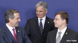 Austria's Chancellor Faymann (centre) with EU partners, 22 May 13