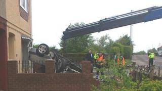The scene of the crash on Engine Lane in Barnsley