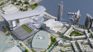 A plan of what the winter sports' complex will look like in Cardiff Bay