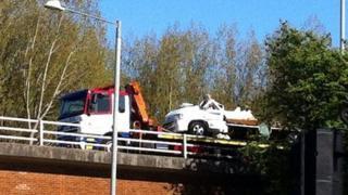 Camper van after M6 crash