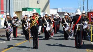 Military band at HMS Trenchant's return