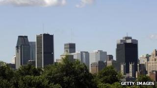This image shows the skyline of Montreal Canada on 21 July, 2005