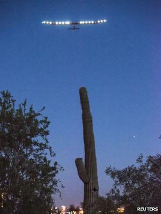 Solar Impulse plane takes off from Phoenix