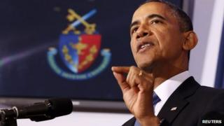 President Barack Obama speaks at the National Defence University, Washington DC 23 May 2013