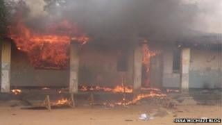 A house set alight in Mtwara, Tanzania in May 2013