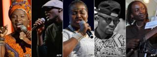 L-R: Angelique Kidjo, 2Face Idibia, Yvonne Chaka Chaka, Fuse ODG and Eric Wainaina