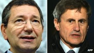 Ignazio Marino (left) and Gianni Alemanno (right)