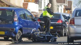 Police investigate shooting involving car and motorbike on Culverhouse Road, Luton