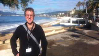 Dumitru Langham on the sea-front at Cannes