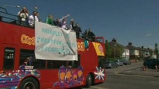 Waverley FC players take part in open-top bus celebrations
