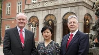Martin McGuinness and Peter Robinson with Li Xiaolin