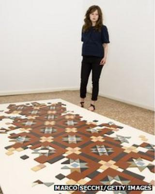Corin Sworn in front of 'Untitled' 2013 at Palazzo Pisani (S.Marina)