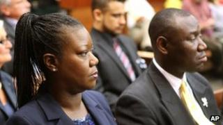 Sybrina Fulton (left) and Benjamin Crump in the courtroom in Sanford, Florida 28 May 2013