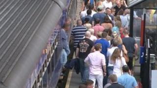 Passengers at station