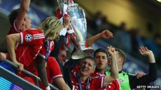 Bayern Munich lifting the European Cup