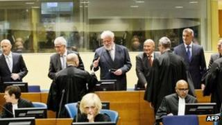 From left to right standing: Jadranko Prlic, Bruno Stojic, Slobodan Praljak, Milivoj Petkovic, Valentin Coric and Berislav Pusic at The Hague court. Photo: 29 May 2013