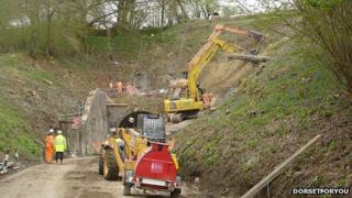 Work on Beaminster Tunnel