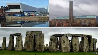 Clockwise from top left: Museum of Liverpool, Tate Modern, Stonehenge