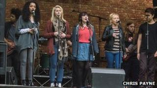 Manchester music students performing in the city centre
