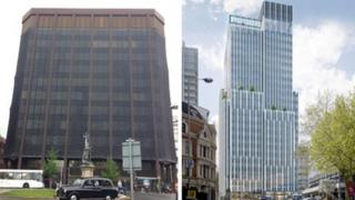 Derelict Thames Tower (left) and artist's impression (right)