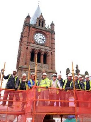 Construction workers at Guildhall