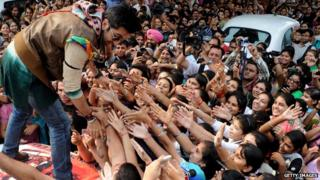 Indian Bollywood actor Ranbir Kapoor meeting fans