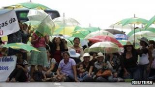 Protest by indigenous Brazilians in Brasilia on 5 November 2012
