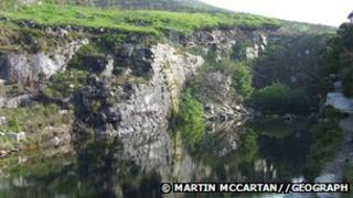 The quarry at the foot of Spence mountain where the two people died