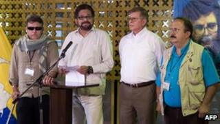 Farc negotiators in Cuba on 3 May 2013