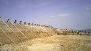 The affected timber breastwork on West Beach, Hayling Island