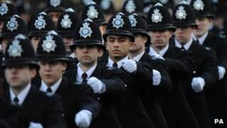 Police recruits marching