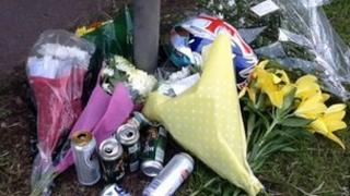Tributes at the scene of the crash