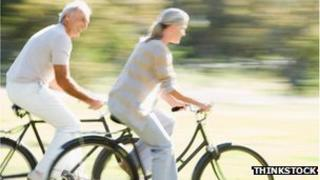 Old people cycling