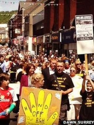 People opposing the plans for the NHS protested in Pontypridd on Saturday