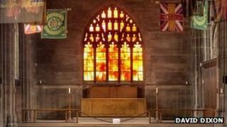 Manchester Cathedral, Regiment Chapel and Fire Window